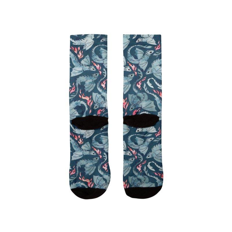 Dragon fire navy blue Women's Socks by AdenaJ