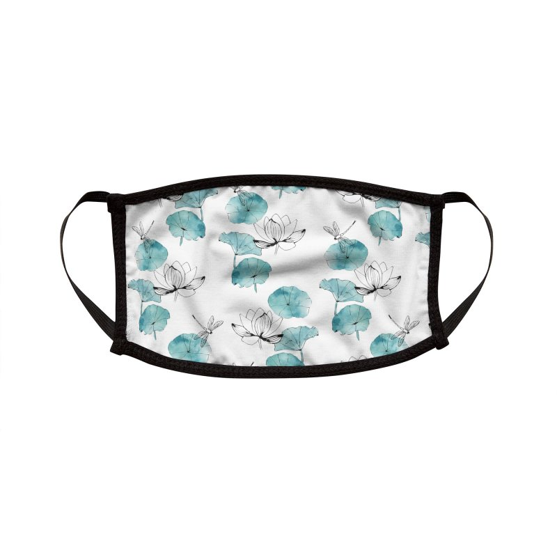 Waterlily dragonfly white Accessories Face Mask by AdenaJ