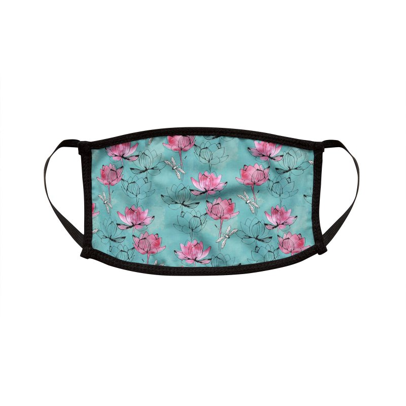 Waterlily dragonfly Accessories Face Mask by AdenaJ