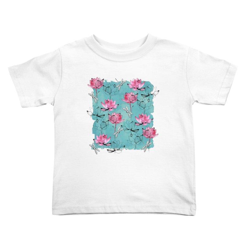 Waterlily dragonfly Kids Toddler T-Shirt by AdenaJ
