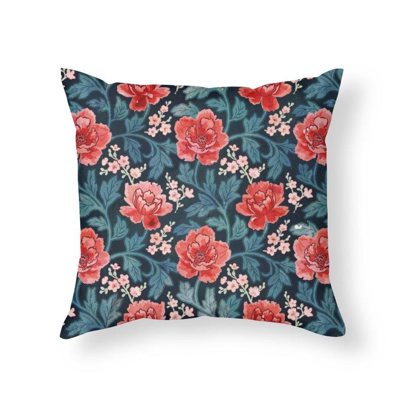 Victorian Peony Home Throw Pillow by AdenaJ