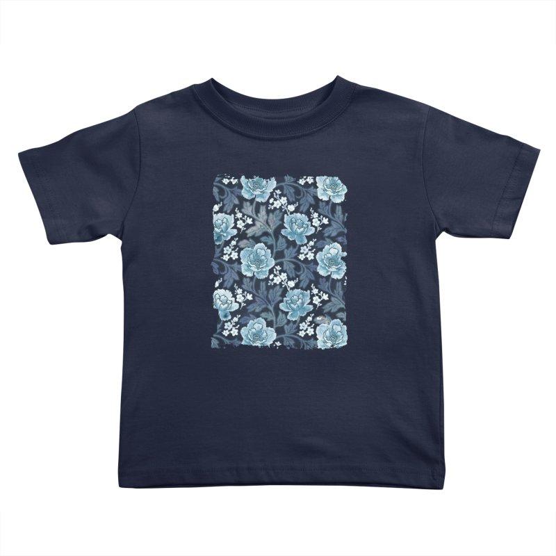 Vintage peony blue Kids Toddler T-Shirt by AdenaJ