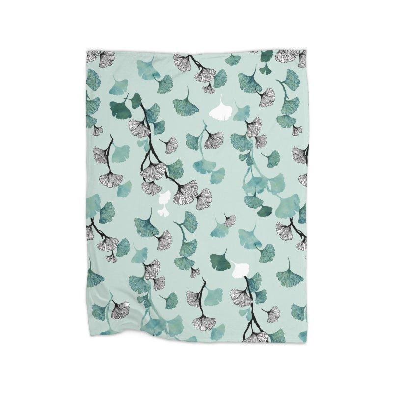 Ginkgo leaves green Home Blanket by AdenaJ