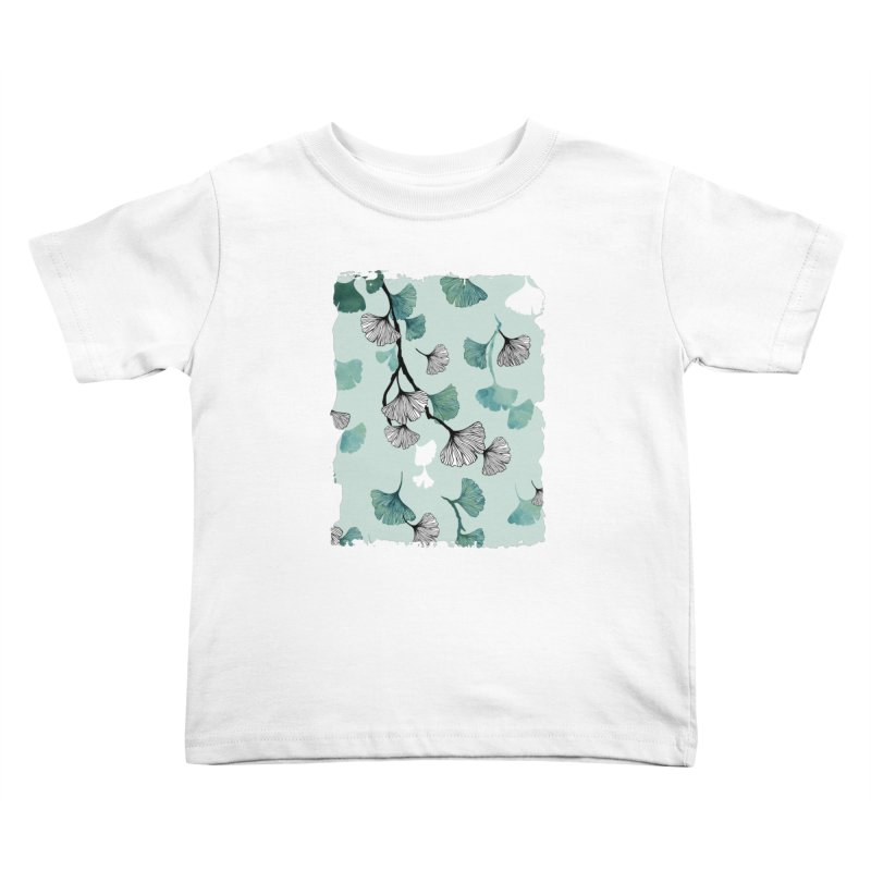 Ginkgo leaves green Kids Toddler T-Shirt by AdenaJ