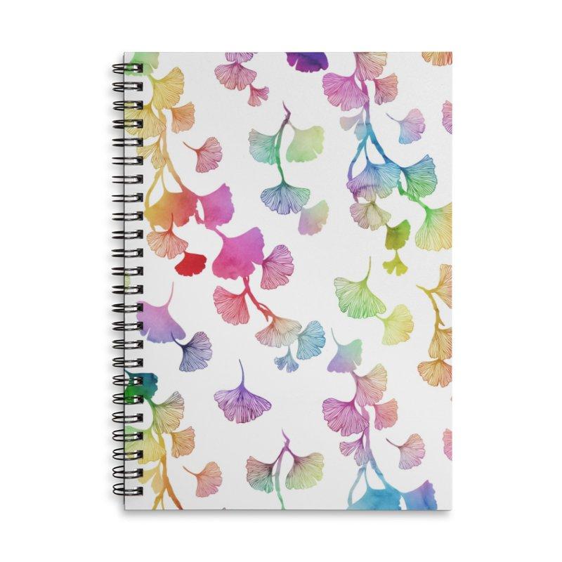 Ginkgo leaves rainbow Accessories Notebook by AdenaJ