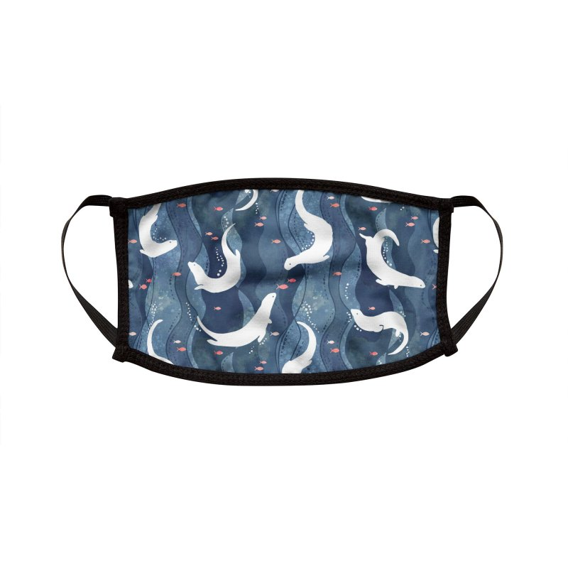 Swimming otters dark blue Accessories Face Mask by AdenaJ