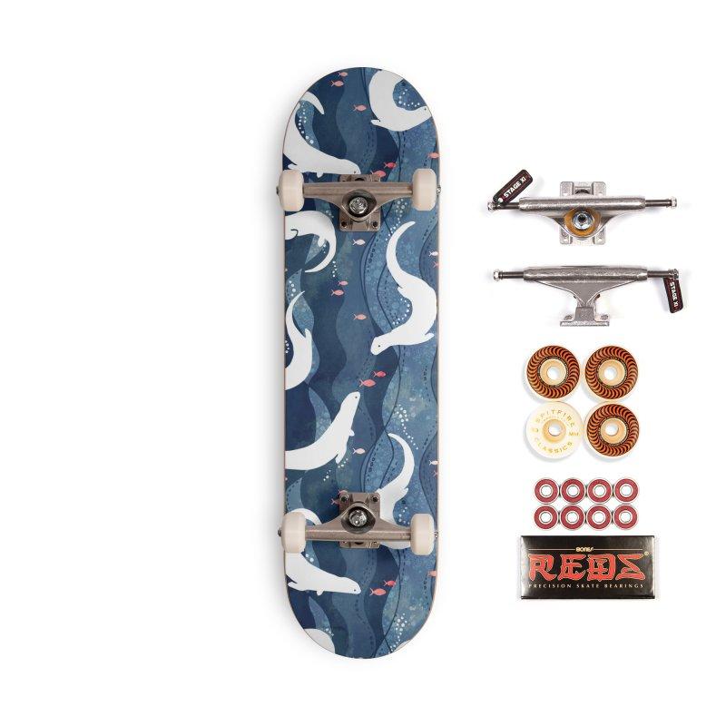 Swimming otters dark blue Accessories Skateboard by AdenaJ