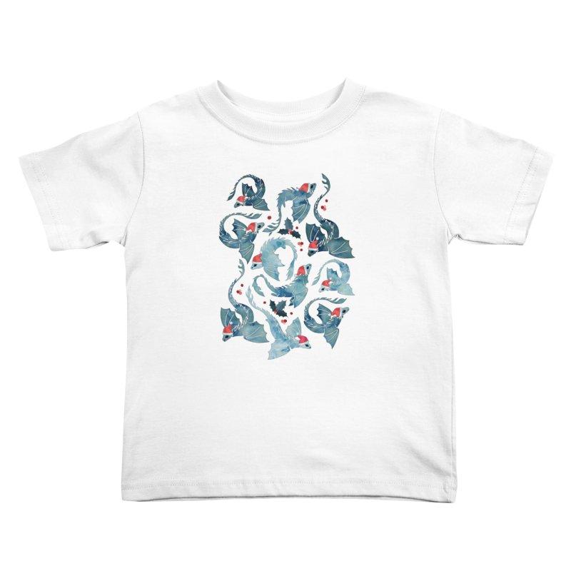 Dragon fire blue Christmas holly Kids Toddler T-Shirt by AdenaJ