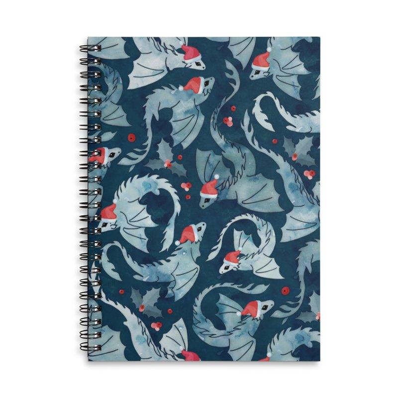 Dragon fire dark blue Christmas holly Accessories Notebook by AdenaJ