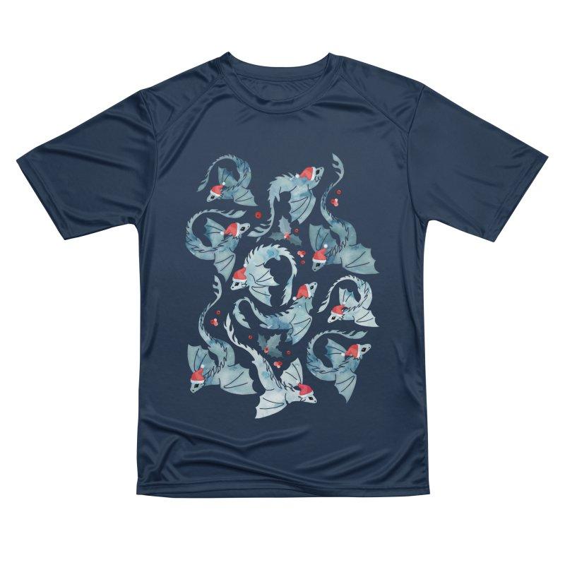 Dragon fire dark blue Christmas holly Women's T-Shirt by AdenaJ