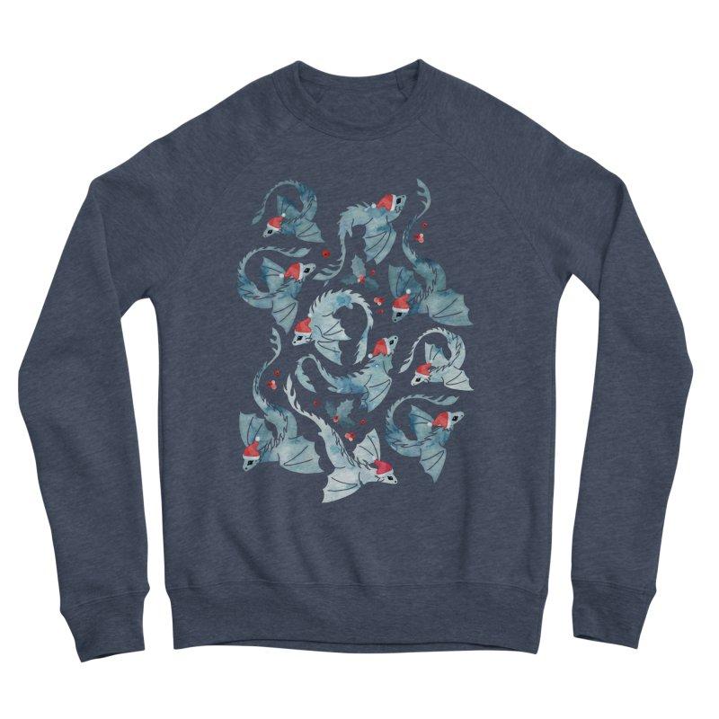 Dragon fire dark blue Christmas holly Women's Sweatshirt by AdenaJ