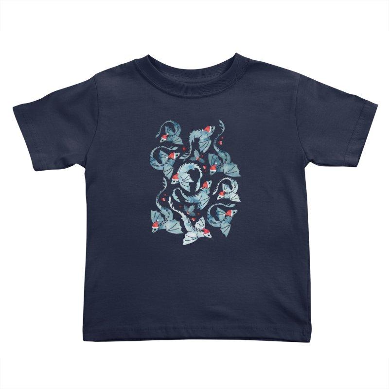 Dragon fire dark blue Christmas holly Kids Toddler T-Shirt by AdenaJ