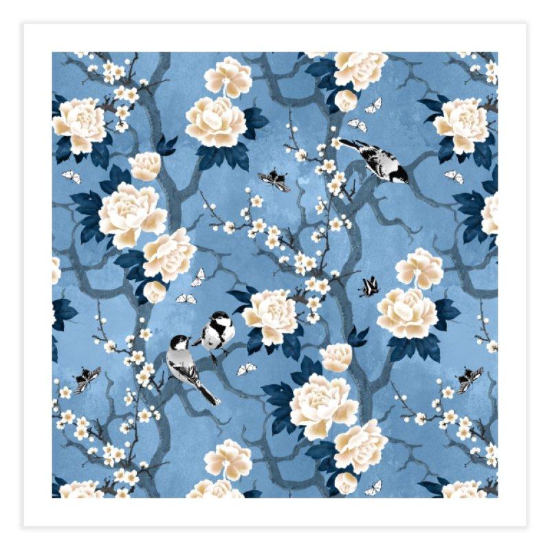 Chinoiserie birds classic blue Home Fine Art Print by AdenaJ