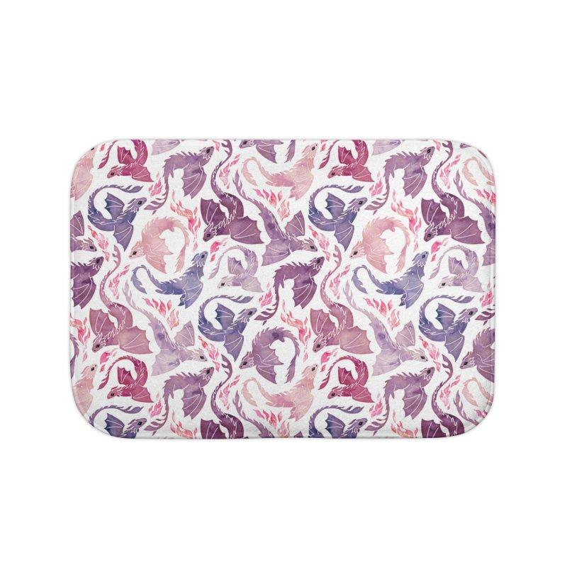 Dragon fire pink & purple Home Bath Mat by AdenaJ