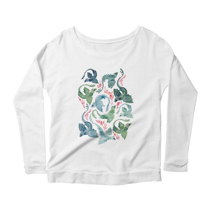 Dragon fire blue & green Women's Longsleeve T-Shirt by AdenaJ