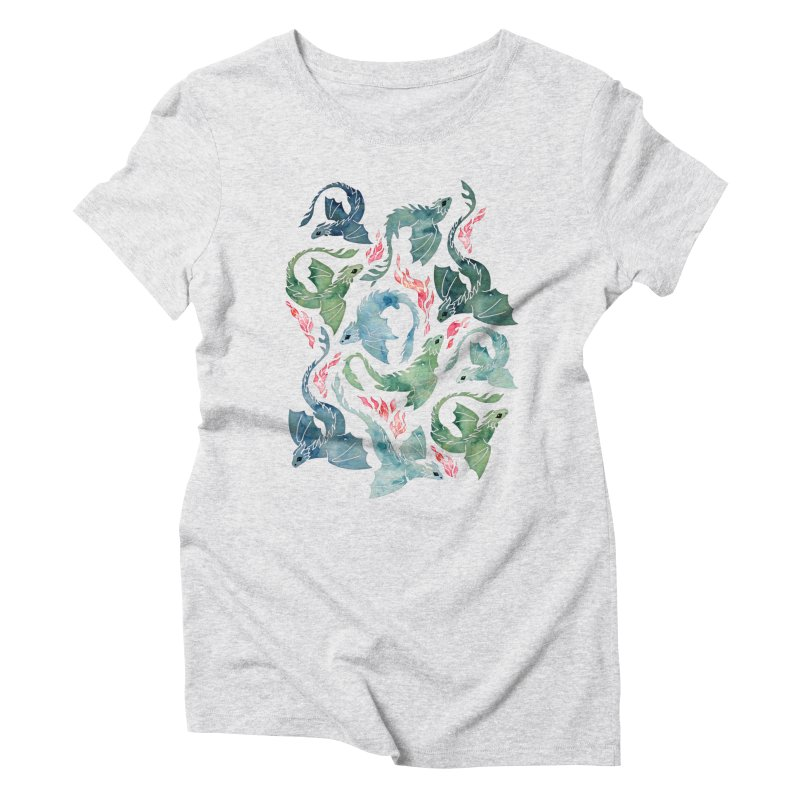 Dragon fire blue & green Women's T-Shirt by AdenaJ