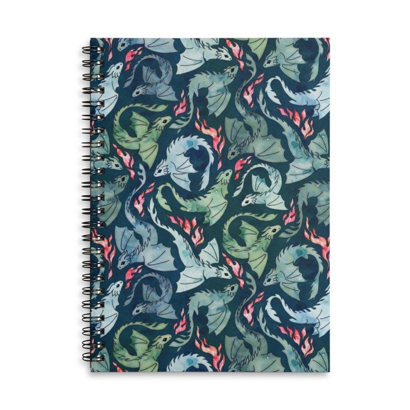 Dragon fire dark blue and green Accessories Notebook by AdenaJ