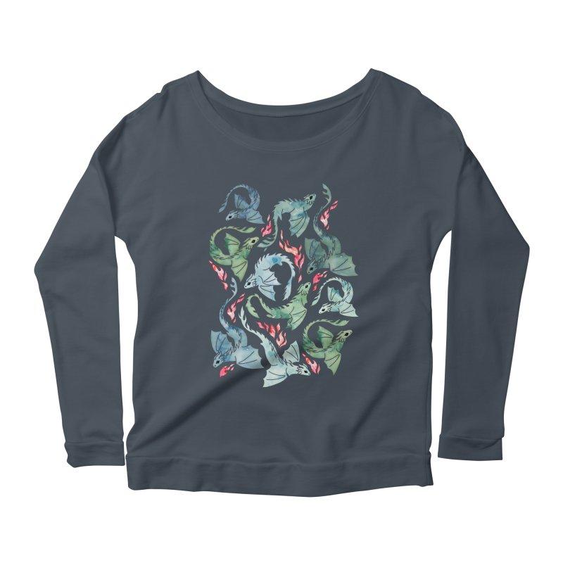 Dragon fire dark blue and green Women's Longsleeve T-Shirt by AdenaJ