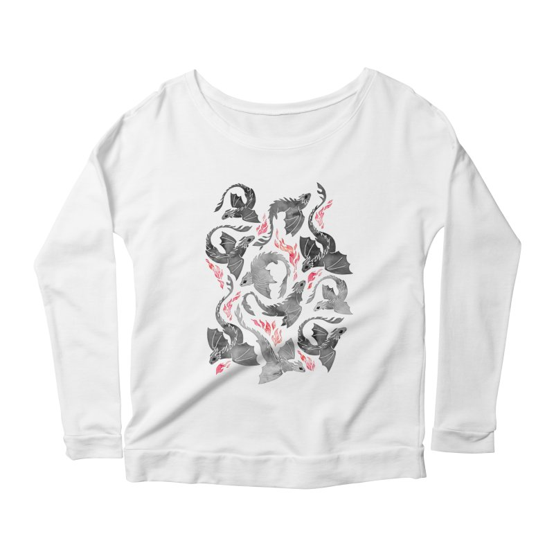 Dragon fire greys & blacks Women's Longsleeve T-Shirt by AdenaJ