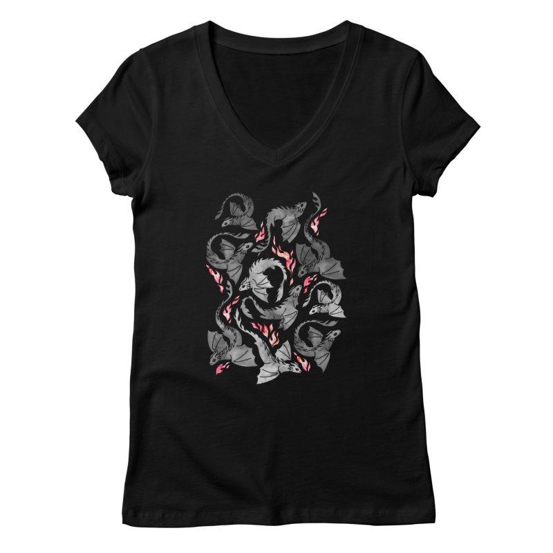 Dragon fire dark grey Women's V-Neck by AdenaJ