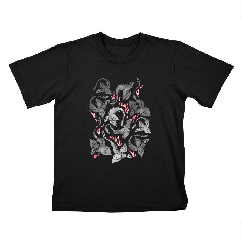Dragon fire dark grey Kids T-Shirt by AdenaJ
