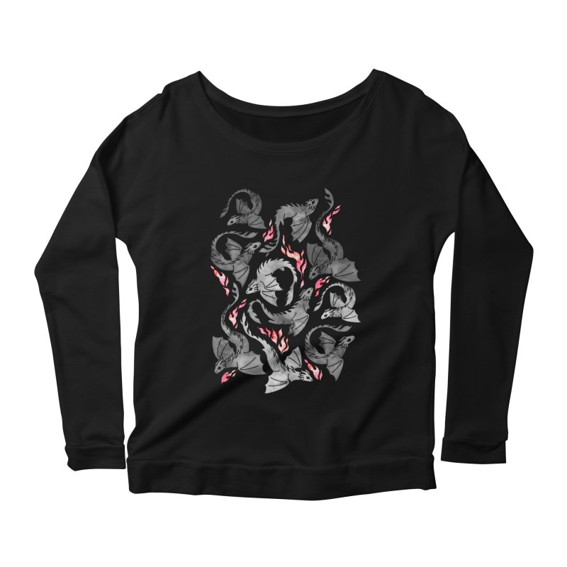 Dragon fire dark grey Women's Longsleeve T-Shirt by AdenaJ