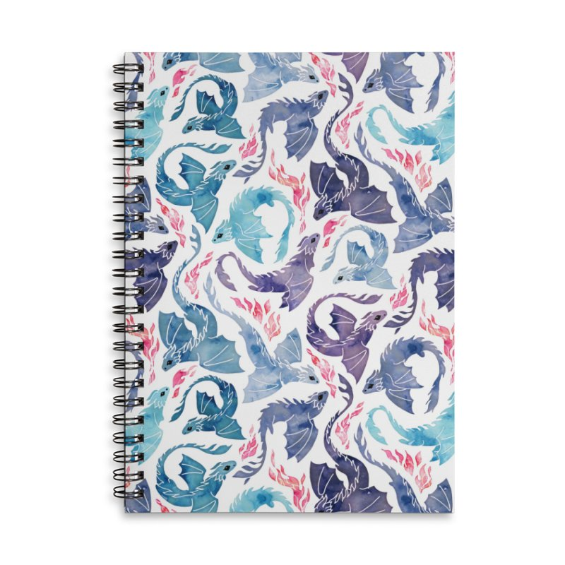 Dragon fire turquoise & purple Accessories Notebook by AdenaJ