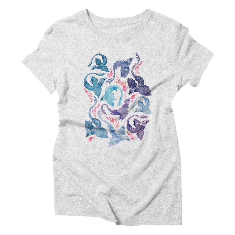 Dragon fire turquoise & purple Women's T-Shirt by AdenaJ