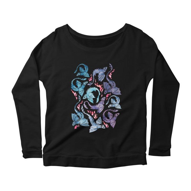 Dragon fire dark turquoise and purple Women's Longsleeve T-Shirt by AdenaJ