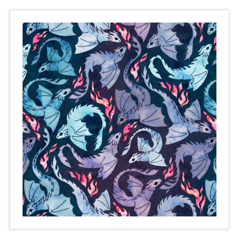 Dragon fire dark turquoise and purple Home Fine Art Print by AdenaJ
