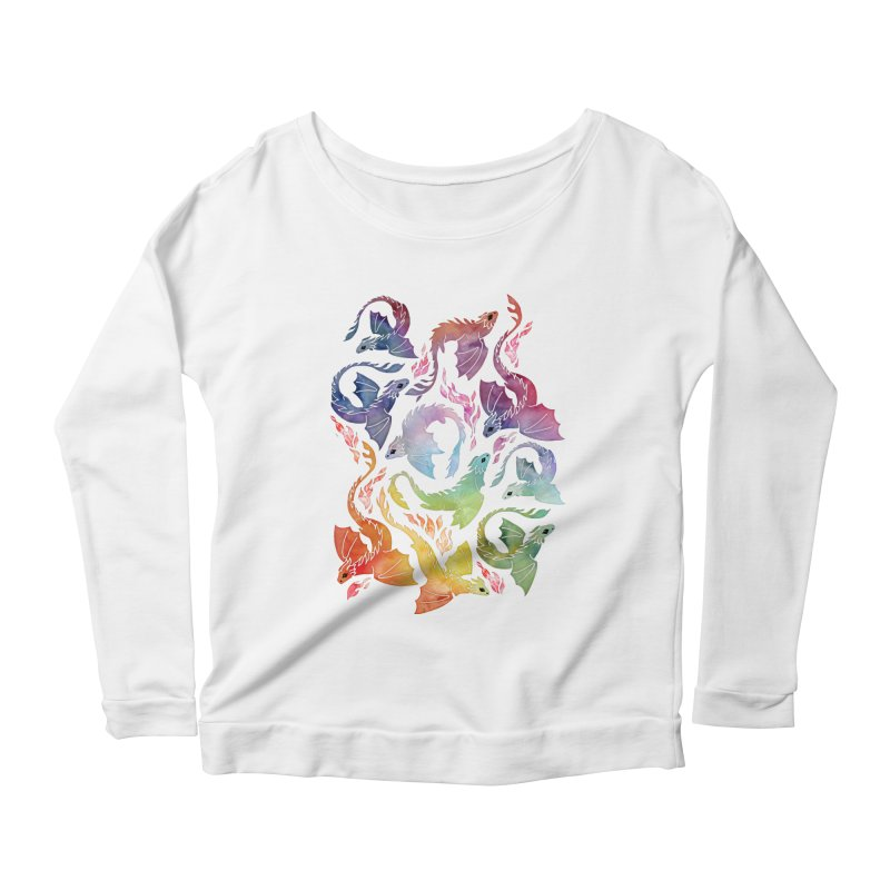 Dragon fire rainbow Women's Longsleeve T-Shirt by AdenaJ