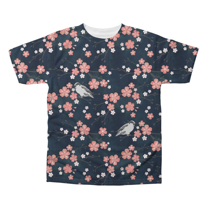 Pink Cherry Blossom Finch Men's Regular All Over Print by AdenaJ