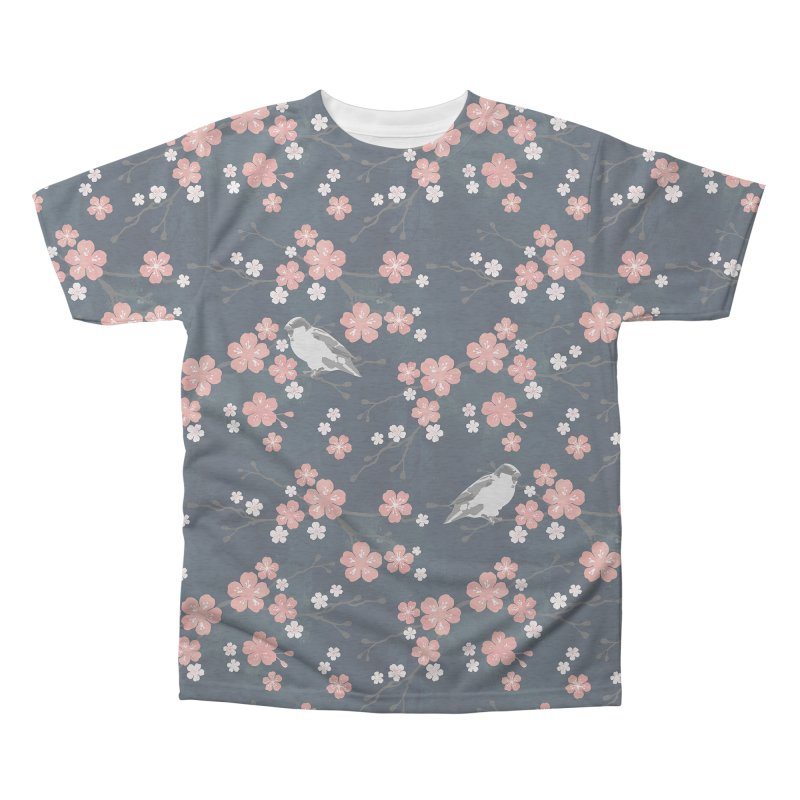 Pink Cherry Blossom Finch Men's Triblend All Over Print by AdenaJ