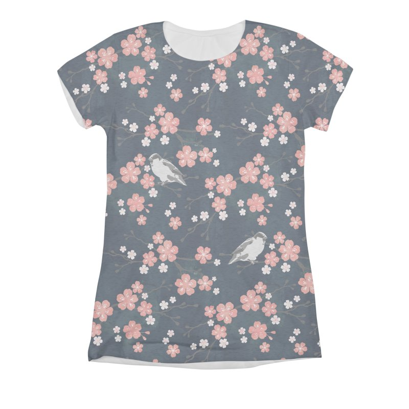 Pink Cherry Blossom Finch Women's Triblend All Over Print by AdenaJ