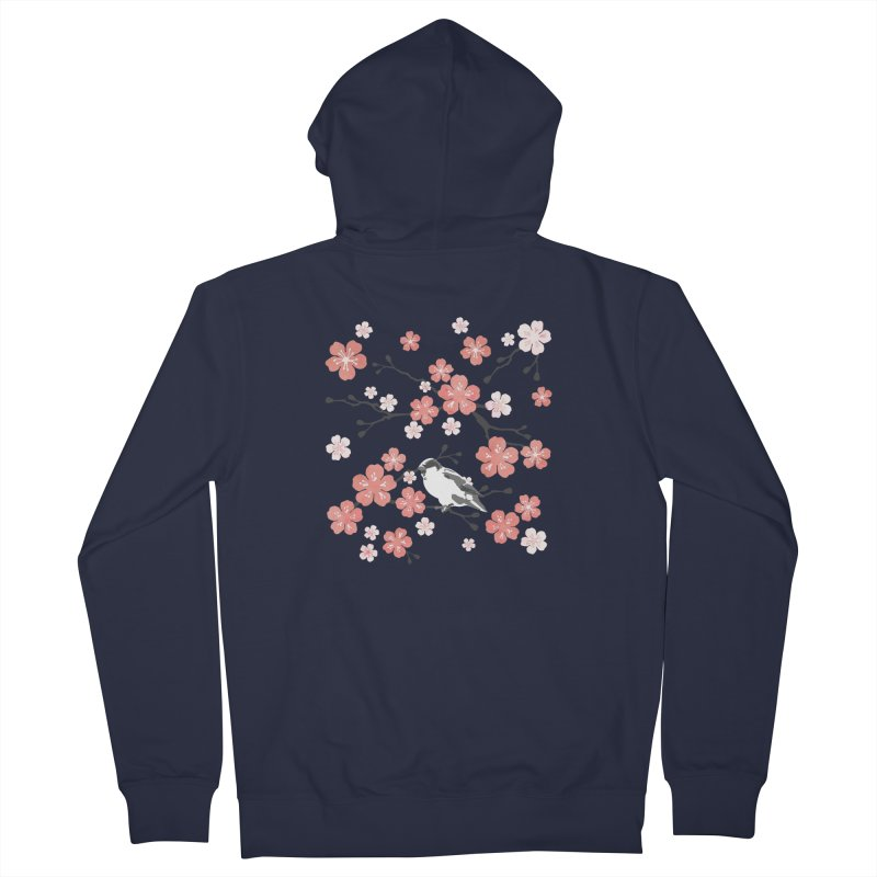 Pink Cherry Blossom Finch Women's Zip-Up Hoody by AdenaJ