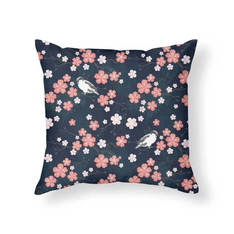 Pink Cherry Blossom Finch in Throw Pillow by AdenaJ