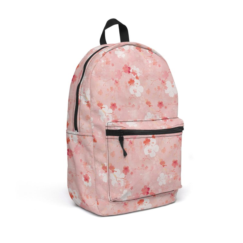 Pink Chinese cherry blossom Accessories Backpack Bag by AdenaJ