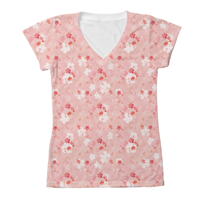 Pink Chinese cherry blossom Women's V-Neck All Over Print by AdenaJ