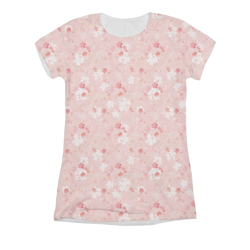Pink Chinese cherry blossom Women's Triblend All Over Print by AdenaJ