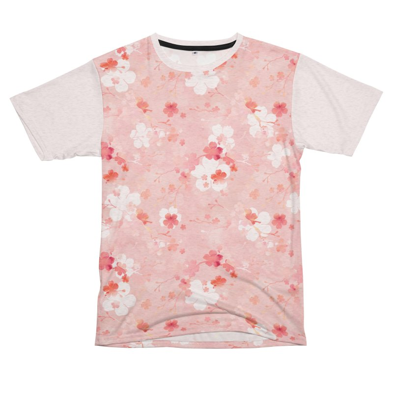 Pink Chinese cherry blossom Women's Unisex French Terry T-Shirt Cut & Sew by AdenaJ