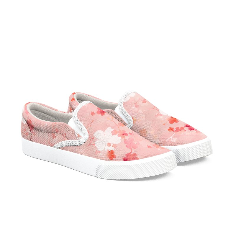 Pink Chinese cherry blossom Men's Slip-On Shoes by AdenaJ