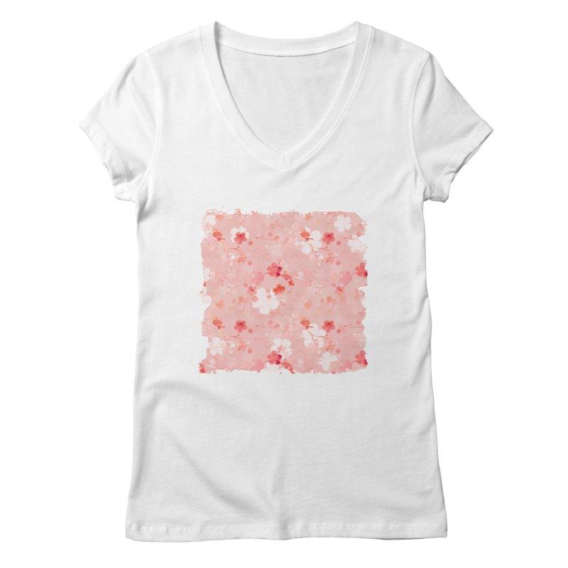 Pink Chinese cherry blossom Women's Regular V-Neck by AdenaJ
