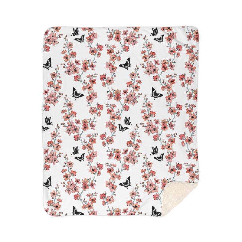 Sakura butterfly Home Sherpa Blanket Blanket by AdenaJ