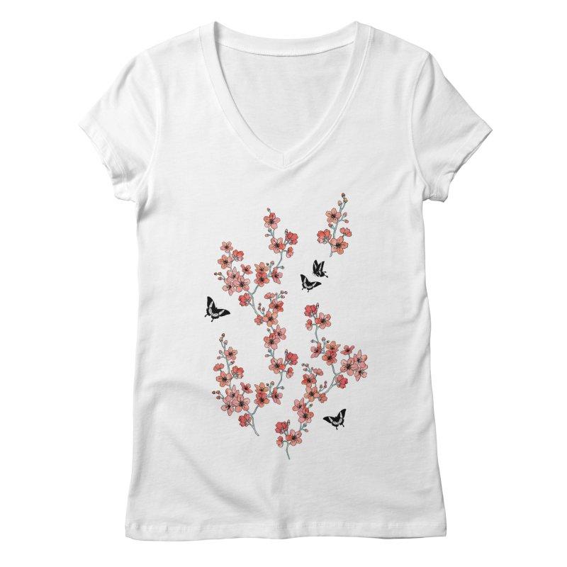 Sakura butterfly Women's Regular V-Neck by AdenaJ