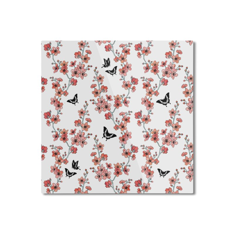 Sakura butterfly Home Mounted Aluminum Print by AdenaJ