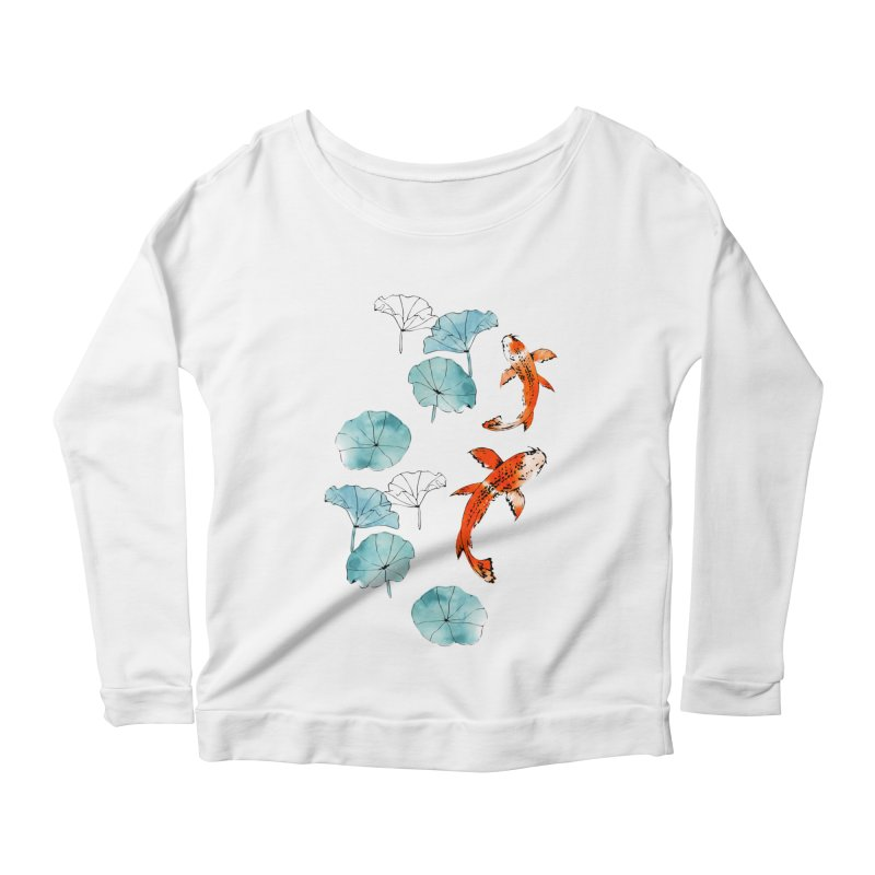 Waterlily koi Women's Scoop Neck Longsleeve T-Shirt by AdenaJ