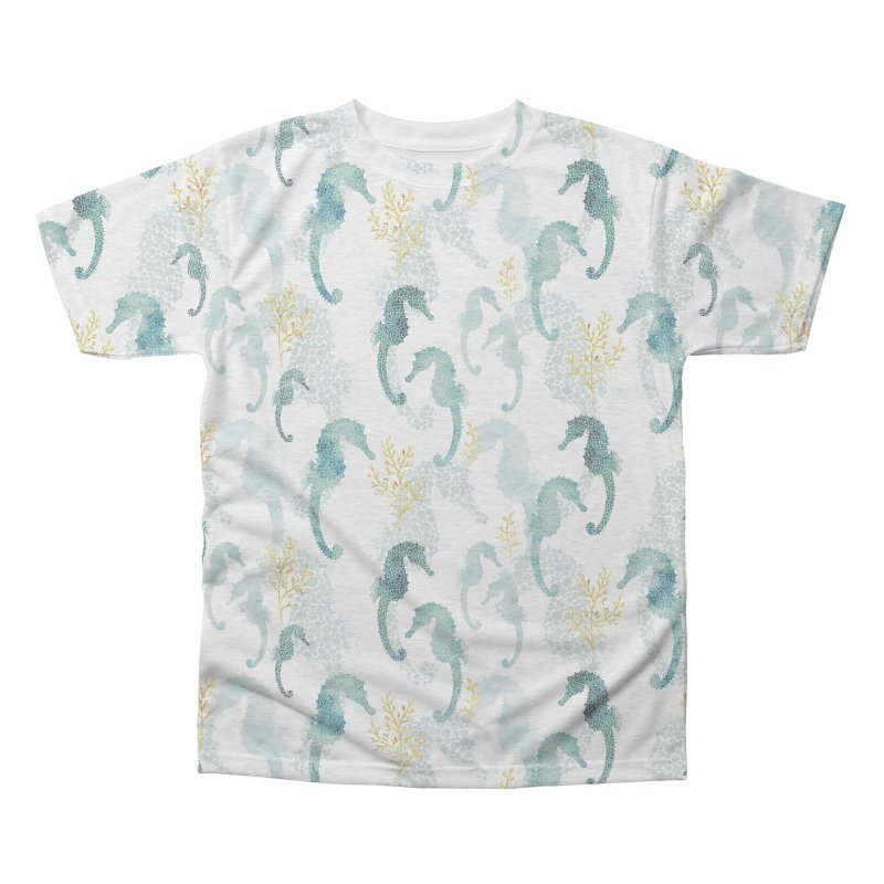 Pointilism seahorse in white Men's Triblend All Over Print by AdenaJ