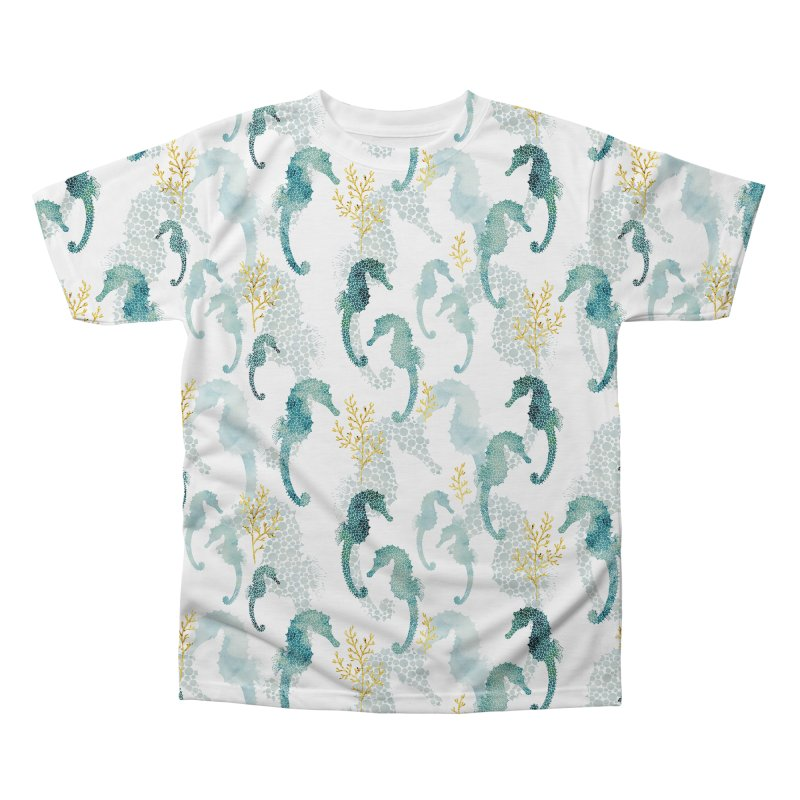 Pointilism seahorse in white Men's Regular All Over Print by AdenaJ
