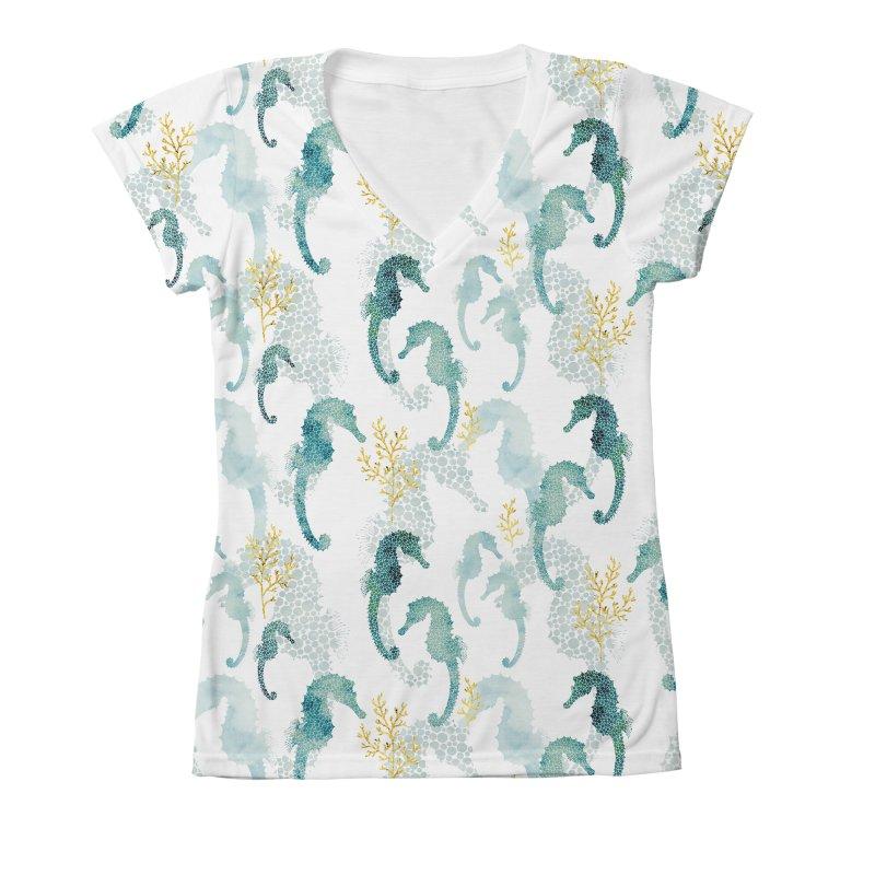 Pointilism seahorse in white Women's V-Neck All Over Print by AdenaJ