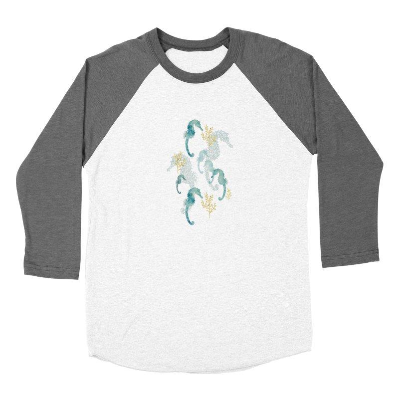 Pointilism seahorse in white Men's Baseball Triblend Longsleeve T-Shirt by AdenaJ